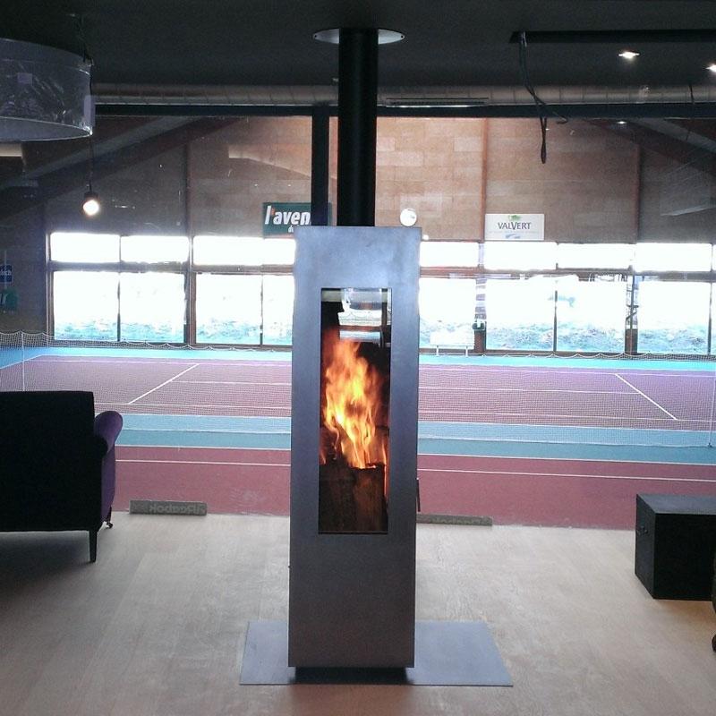 Печь камин Concerpt Feuer Matrix черная, дверь из нержавейки, поворотная