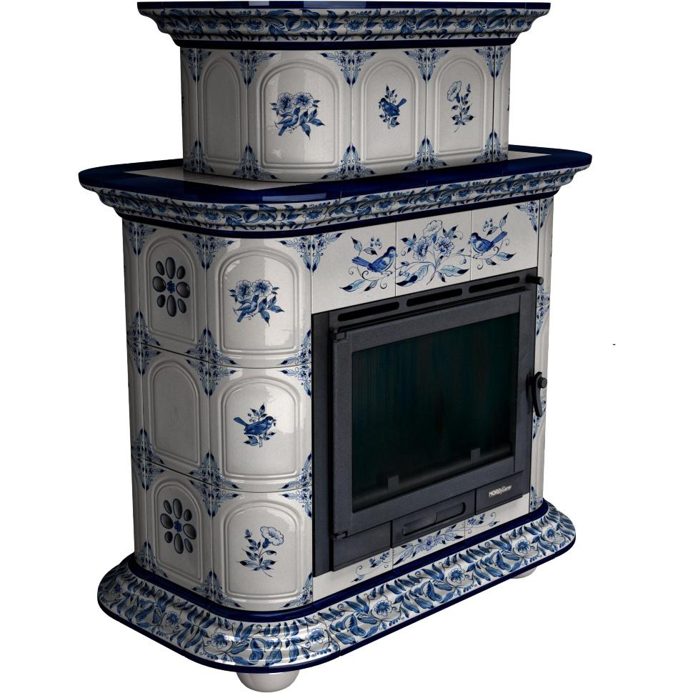 Облицовка камина КимрПечь Прованс центральный - двухъярусный, роспись Дельфт