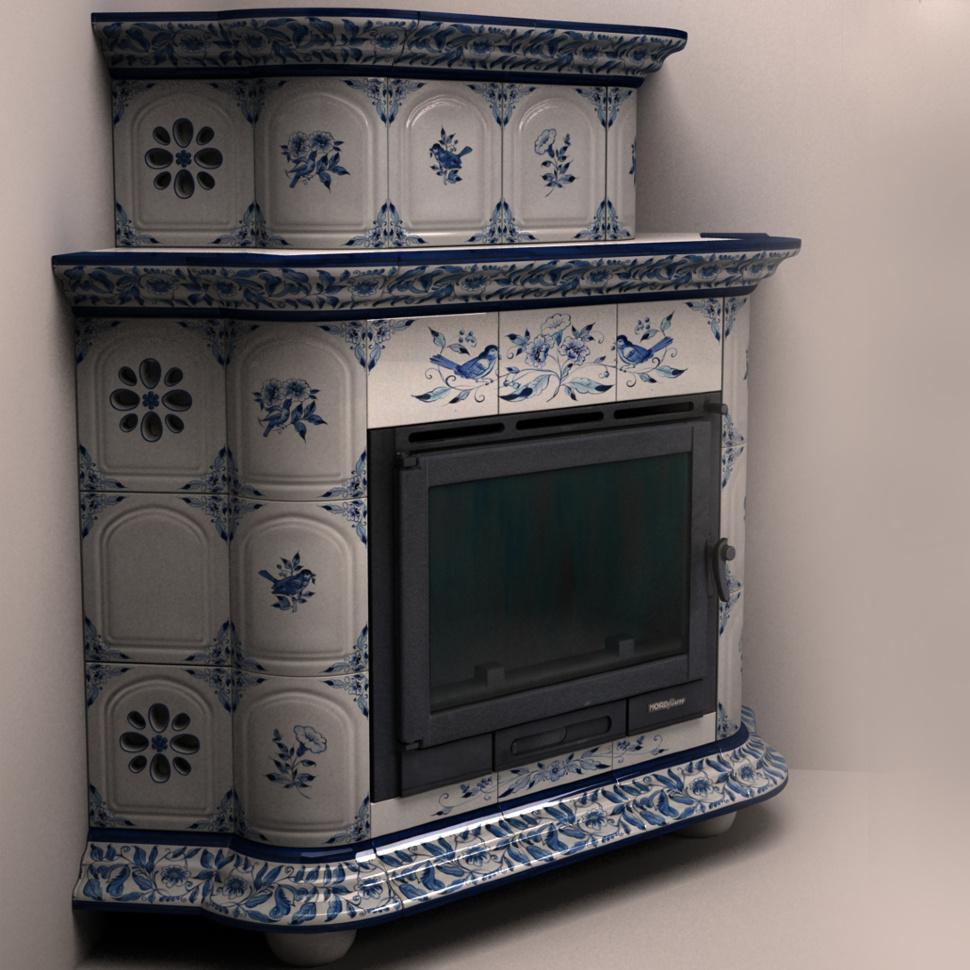 Облицовка камина КимрПечь Прованс угловой - двухъярусный, роспись Дельфт