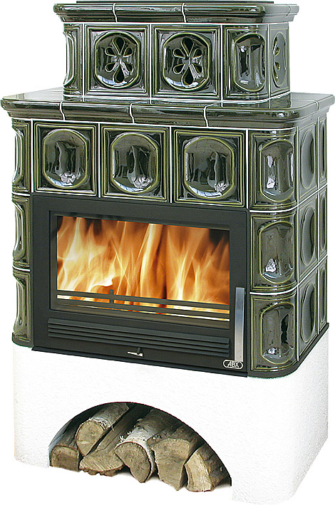 Кафельная печь ABX Karelie, белый цоколь, с теплообменником 7 кВт