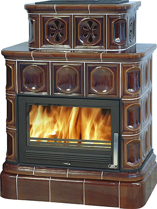 Кафельная печь ABX Karelie, кафельный цоколь, с теплообменником 7 Квт