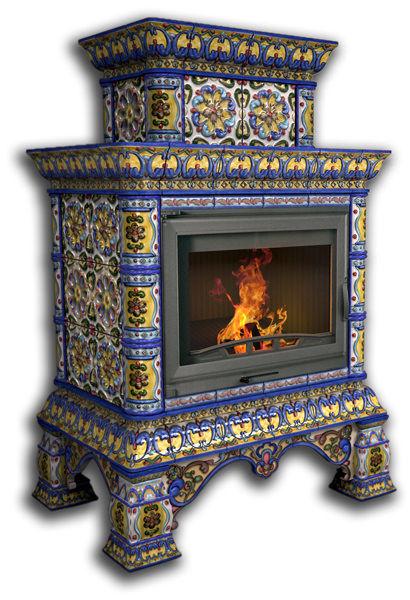 Облицовка камина КимрПечь Кострома пристенный, двухъярусный, роспись январь