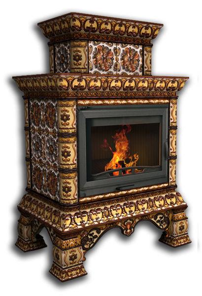 Облицовка камина КимрПечь Кострома пристенный, двухъярусный, роспись октябрь