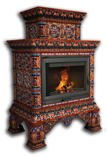 Облицовка камина КимрПечь Кострома пристенный, двухъярусный, роспись сентябрь