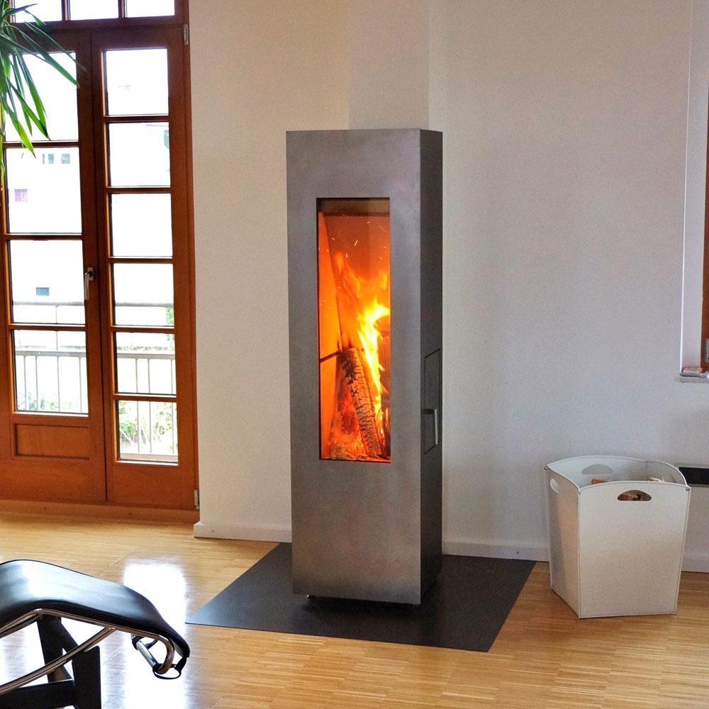 Печь камин Concerpt Feuer Matrix черная, дверь из нержавейки
