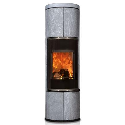 Печь камин Concerpt Feuer Zion черная, serpentino с накопительным камнем